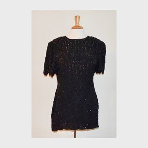 Vintage Black Sequin Mini Dress